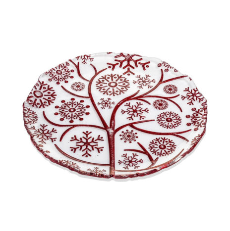 XMAS RED SNOWFLAKES DECORATIVE PLATE