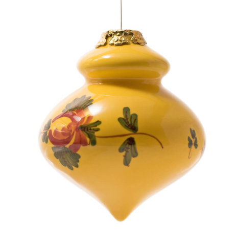 YELLOW FINIAL CHRISTMAS BAUBLES SET
