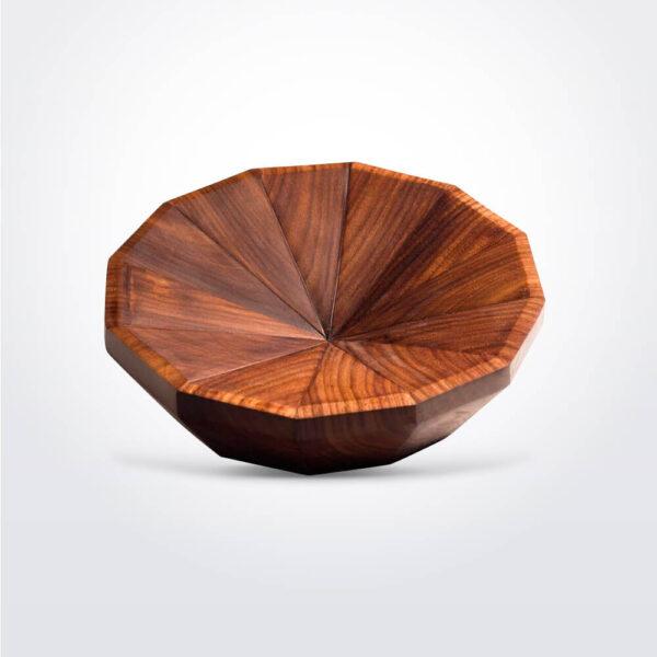 Geo wooden round bowl.