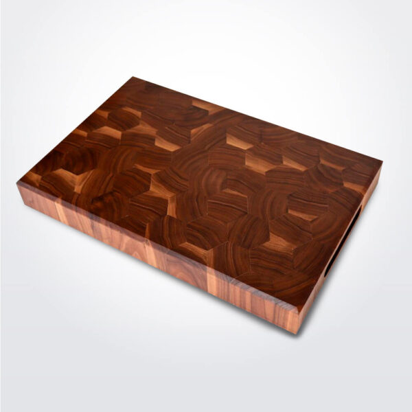 Hexagon wooden cutting board product photo.