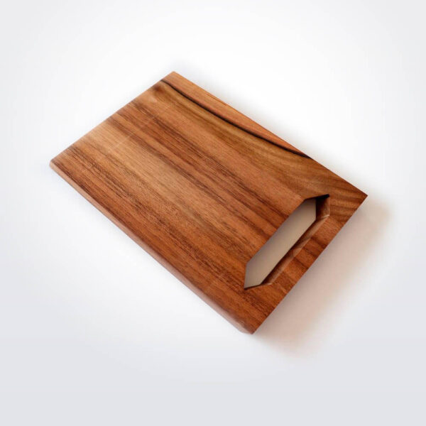 Sleek wooden cutting board product picture.