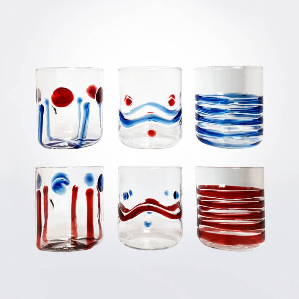 Fantasy red blue tumbler set six pieces set.