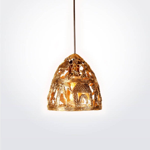 Indian brass pendant light with light.