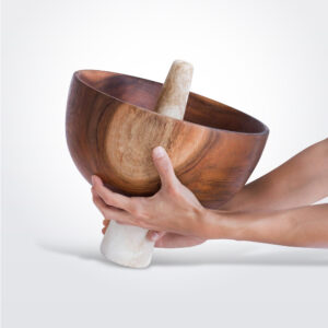 Menhir wood stone bowl product picture.