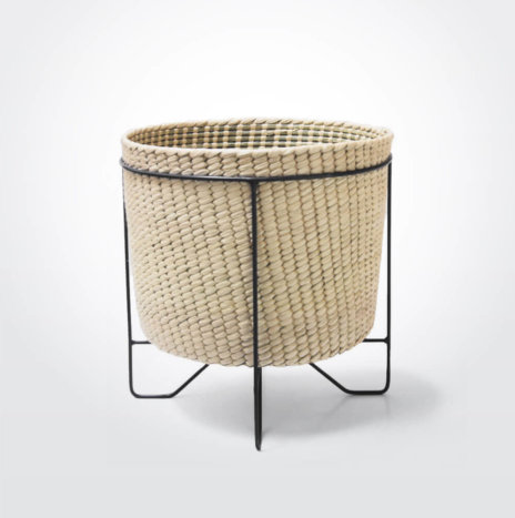 Palm Leaf Basket with Black Stand (Large)
