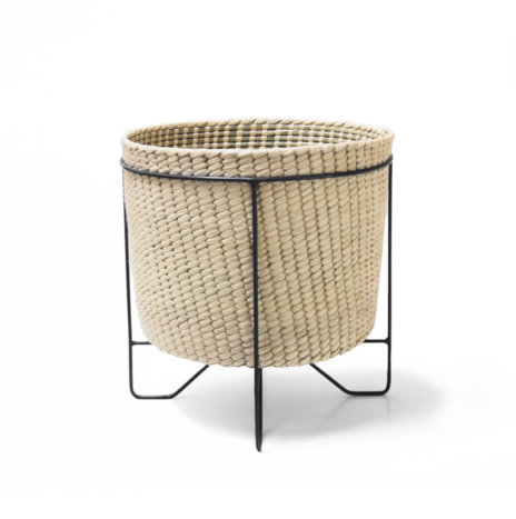PALM LEAF BASKET W/ BLACK STAND (Large)