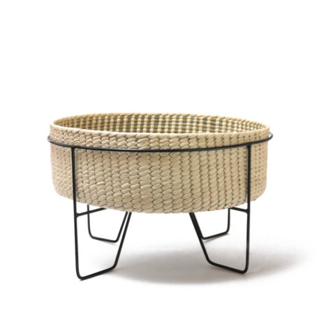 PALM LEAF BASKET W/ BLACK STAND (Medium)