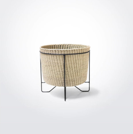 PALM LEAF BASKET W/ BLACK STAND (Small)