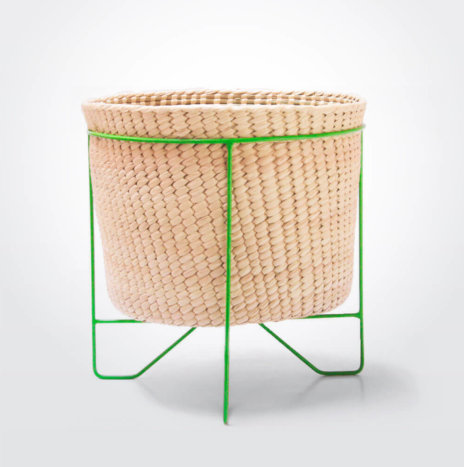 Palm Leaf Basket with Green Stand (Large)