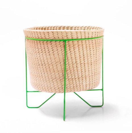 PALM LEAF BASKET W/ GREEN STAND (Large)