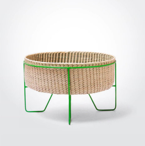 Palm Leaf Basket with Green Stand (Medium)