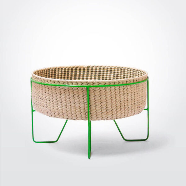 PALM LEAF BASKET W GREEN STAND Medium