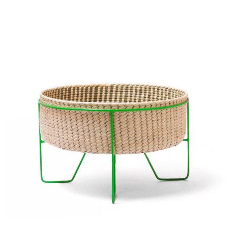 PALM LEAF BASKET W/ GREEN STAND (Medium)