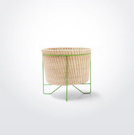 Palm Leaf Basket With Green Stand (Small)