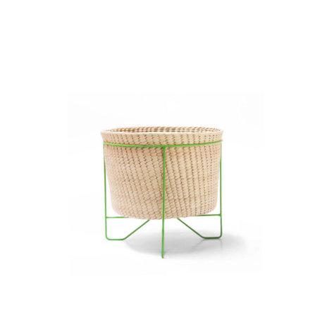 PALM LEAF BASKET W/ GREEN STAND (Small)