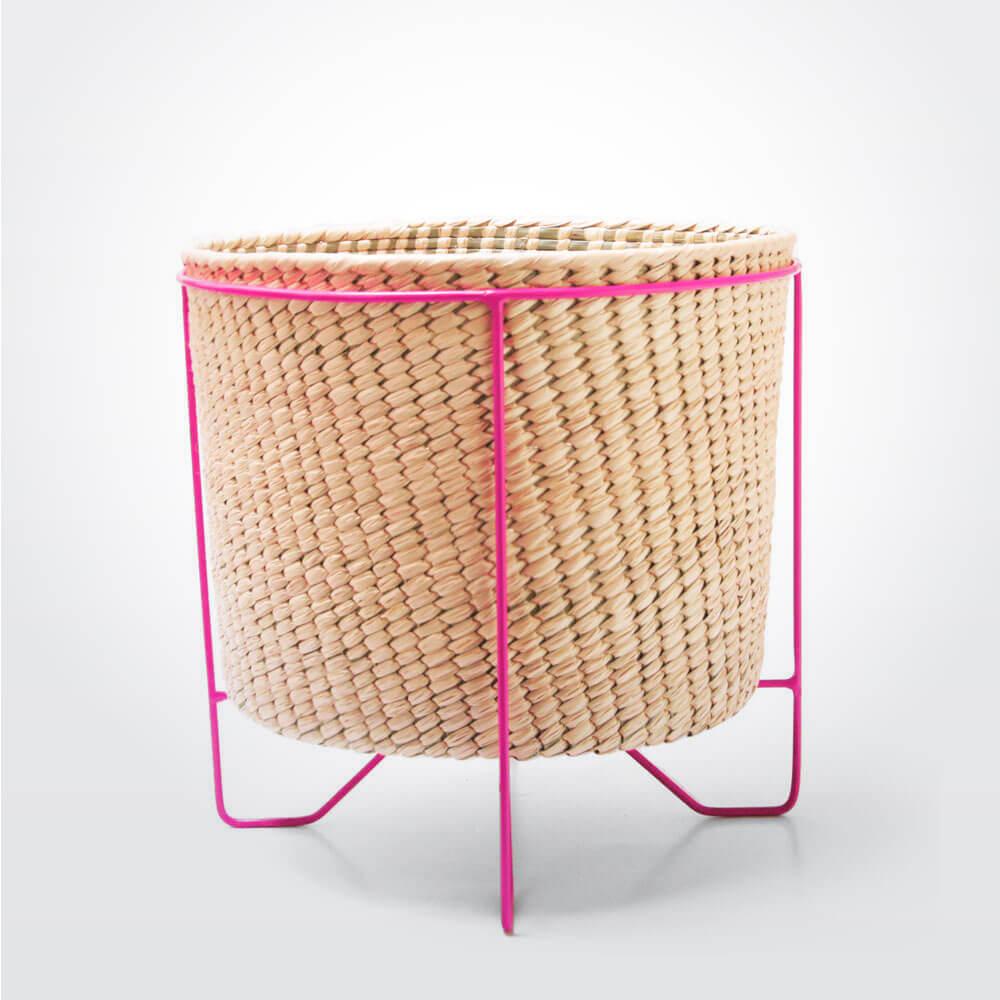 Palm-leaf-basket-w-pink-stand-large