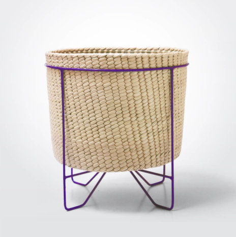 Palm Leaf Basket with Purple Stand (Large)