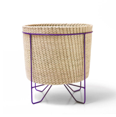 PALM LEAF BASKET W/ PURPLE STAND (Large)