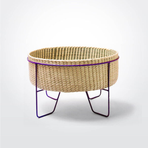 Palm leaf basket with purple stand medium gray background.