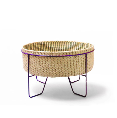PALM LEAF BASKET W/ PURPLE STAND (Medium)