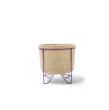 PALM LEAF BASKET W/ PURPLE STAND (Small)