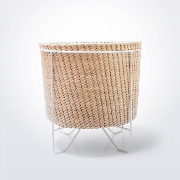 Palm leaf basket w white stand large.