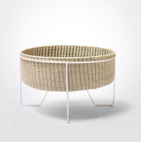 Palm Leaf Basket with White Stand (Medium)
