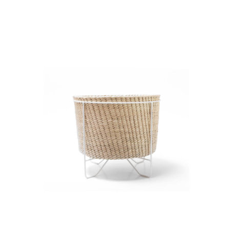 PALM LEAF BASKET W/ WHITE STAND (Small)