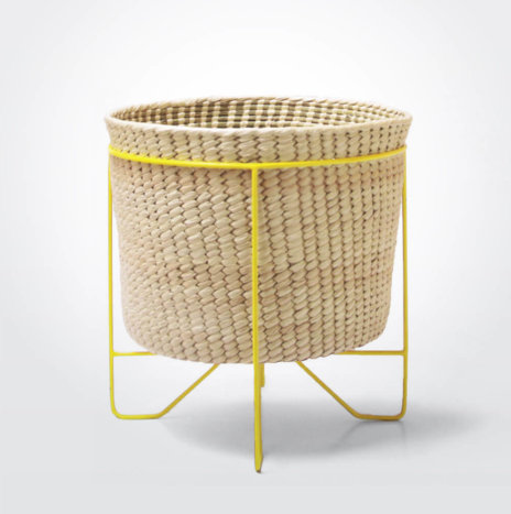 Palm Leaf Basket with Yellow Stand (Large)