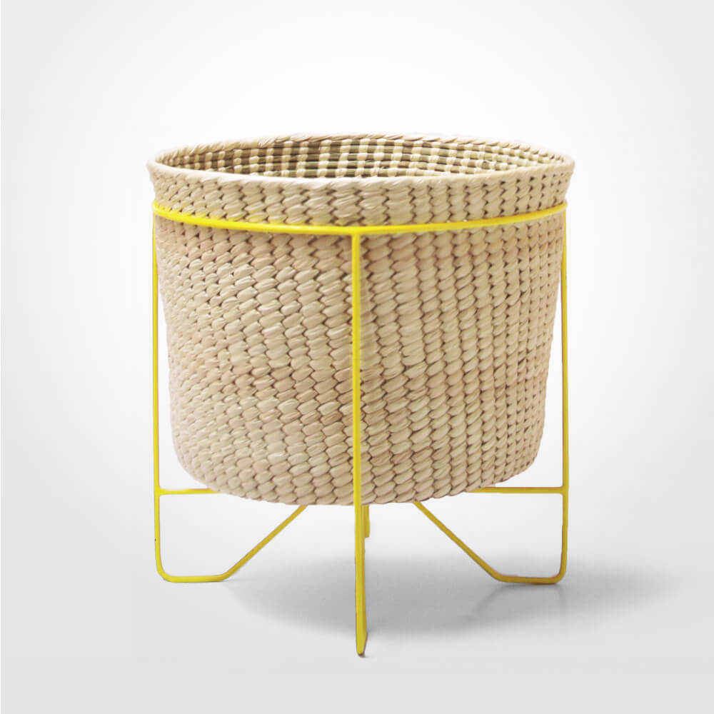 Palm-leaf-basket-w-yellow-stand-large