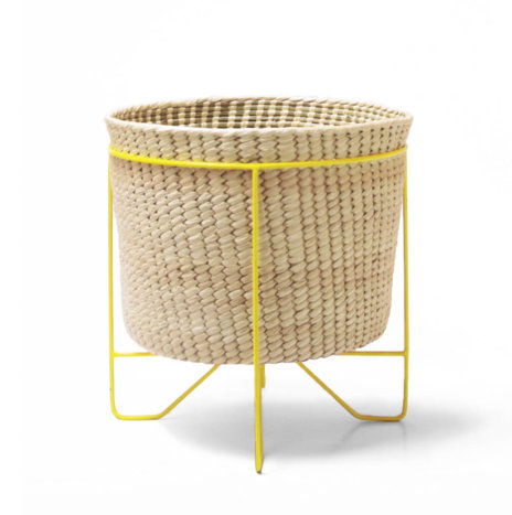 PALM LEAF BASKET W/ YELLOW STAND (Large)