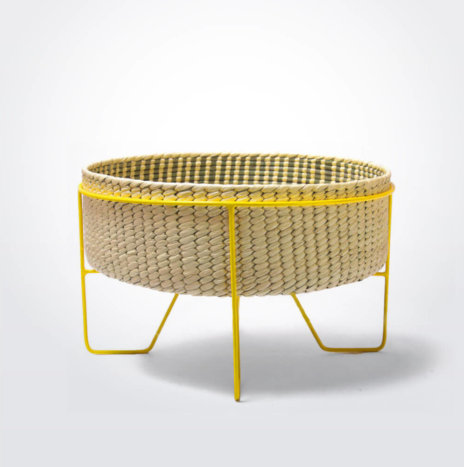 Palm Leaf Basket with Yellow Stand (Medium)