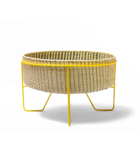 PALM LEAF BASKET W/ YELLOW STAND (Medium)