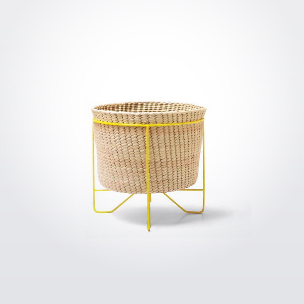 PALM LEAF BASKET W: YELLOW STAND (Small) 33