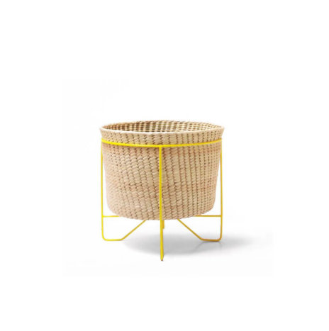 PALM LEAF BASKET W/ YELLOW STAND (Small)