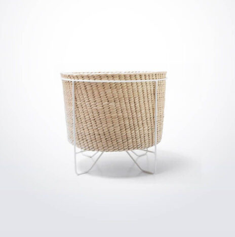 Palm Leaf Basket with White Stand (Small)