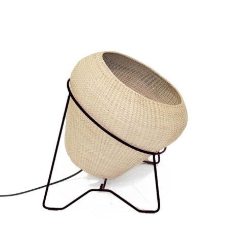 PALM LEAF LAMP W/BLACK STAND