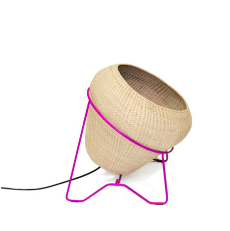 PALM LEAF LAMP W/PINK STAND