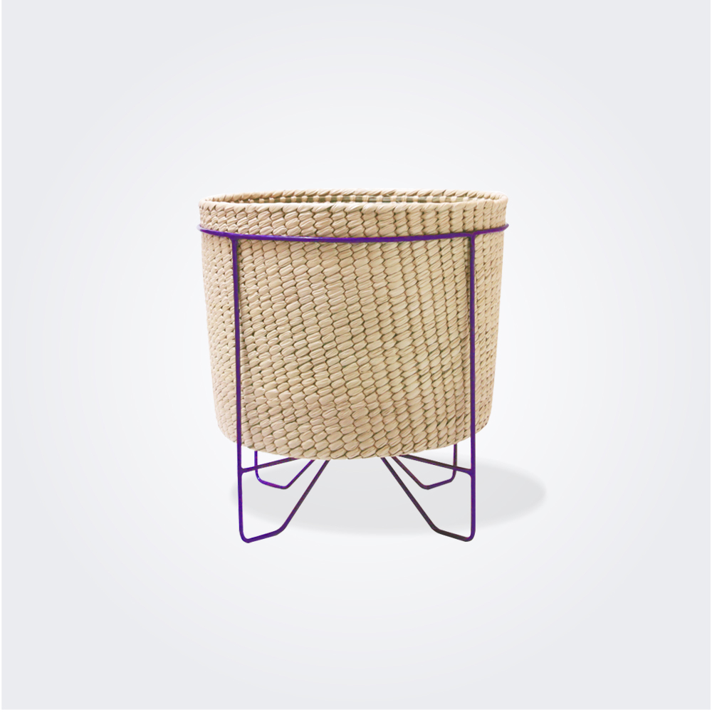 Palm Leaf Basket with purple stand (small)
