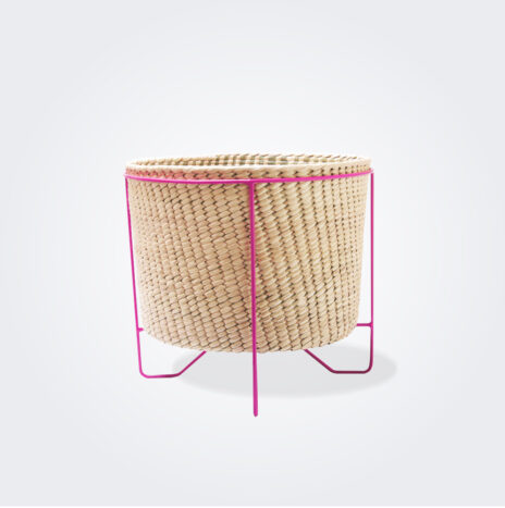 Palm Leaf Basket With Pink Stand (Small)