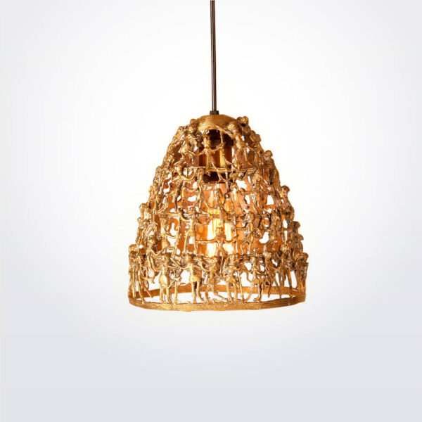 Tribal brass lamp with bulb.