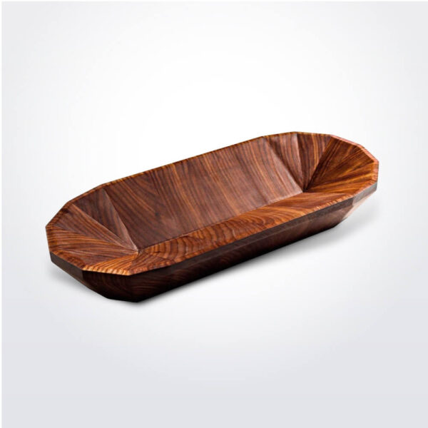 Geo wooden oval bowl with grey background.
