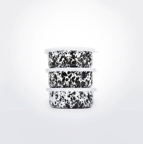 Black & White Enamel Storage Set