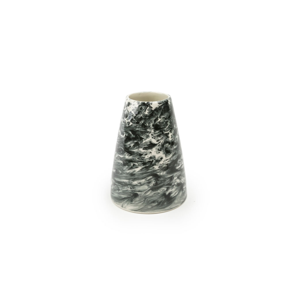BLACK & WHITE WATER MARBLE VASE (Small) (1)