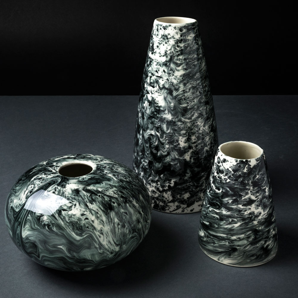 BLACK & WHITE WATER MARBLE VASE (Tall) (2)