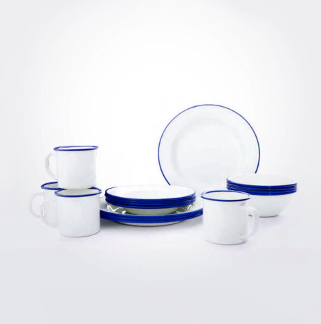 BLUE & WHITE ENAMELWARE DINNERWARE SET