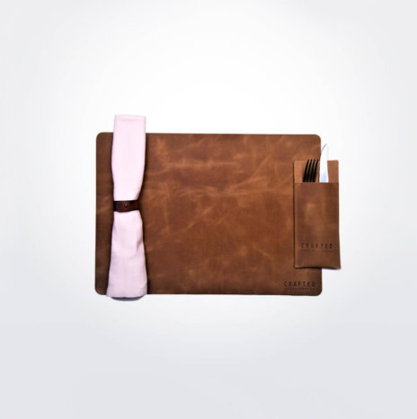 Brown Leather Placemat Set