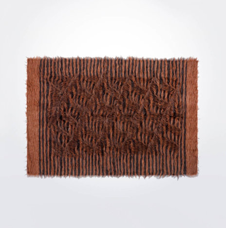 Brown & Black Striped Wool Rug