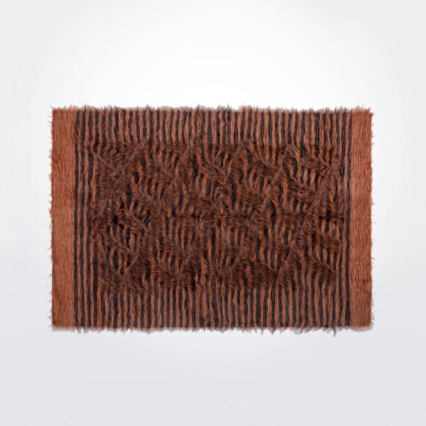 Brown and black striped wool rug.