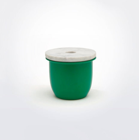 GREEN METAL & MARBLE CONTAINER